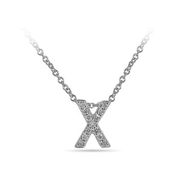 "10K WG and diamond block letters alphabet X ""chain-sliding"" pendant in prong setting"