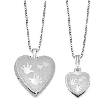 Sterling Silver Rhodium-plated Polished Satin Hand and Hearts Locket & Pend
