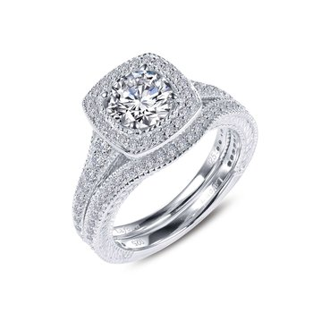 Cushion-Cut Halo Wedding Set