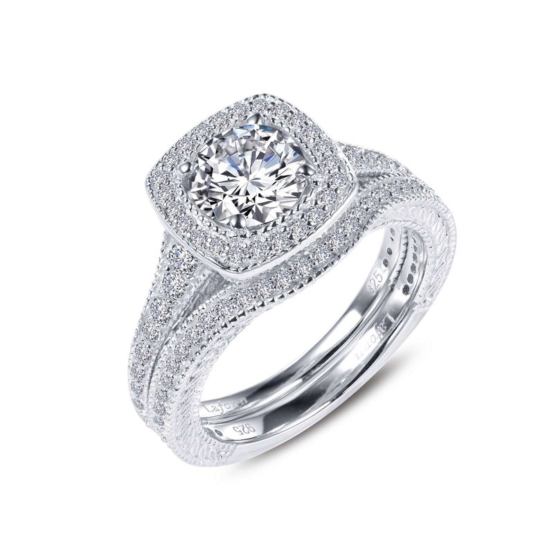 LaFonn Cushion-Cut Halo Wedding Set