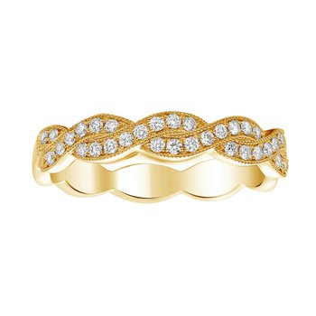 Overlapping Yellow Gold & Diamond Band