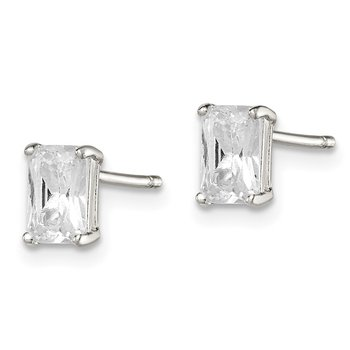 Sterling Silver Emerald-cut 6x4 Basket Set CZ Stud Earrings