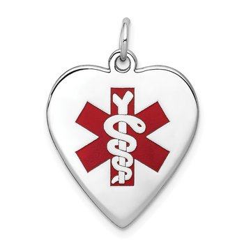 14k White Gold Heart-Shaped Enameled Medical Jewelry Pendant