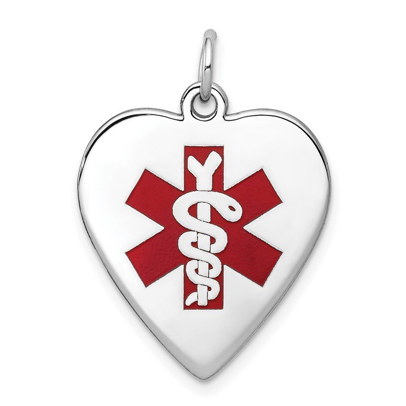 Quality Gold 14k White Gold Heart-Shaped Enameled Medical Jewelry Pendant