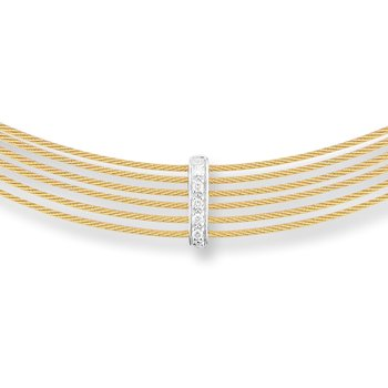 Yellow Cable 6 Row Choker Necklace with 18kt White Gold & Diamonds