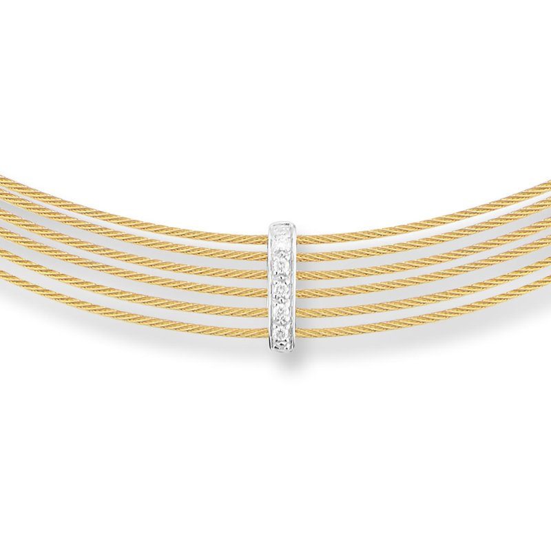 ALOR Yellow Cable 6 Row Choker Necklace with 18kt White Gold & Diamonds