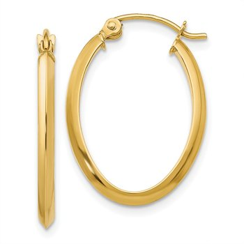 14k 2mm Oval Hoop Earrings