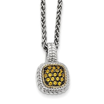 Sterling Silver w/14k and Black Rhodium Citrine Necklace