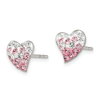 Sterling Silver Pink and White Preciosa Crystal Heart Post Earrings