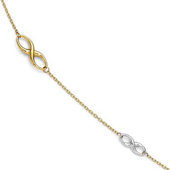 Leslie's 14K Two-tone Polished Anklet w/1in ext.