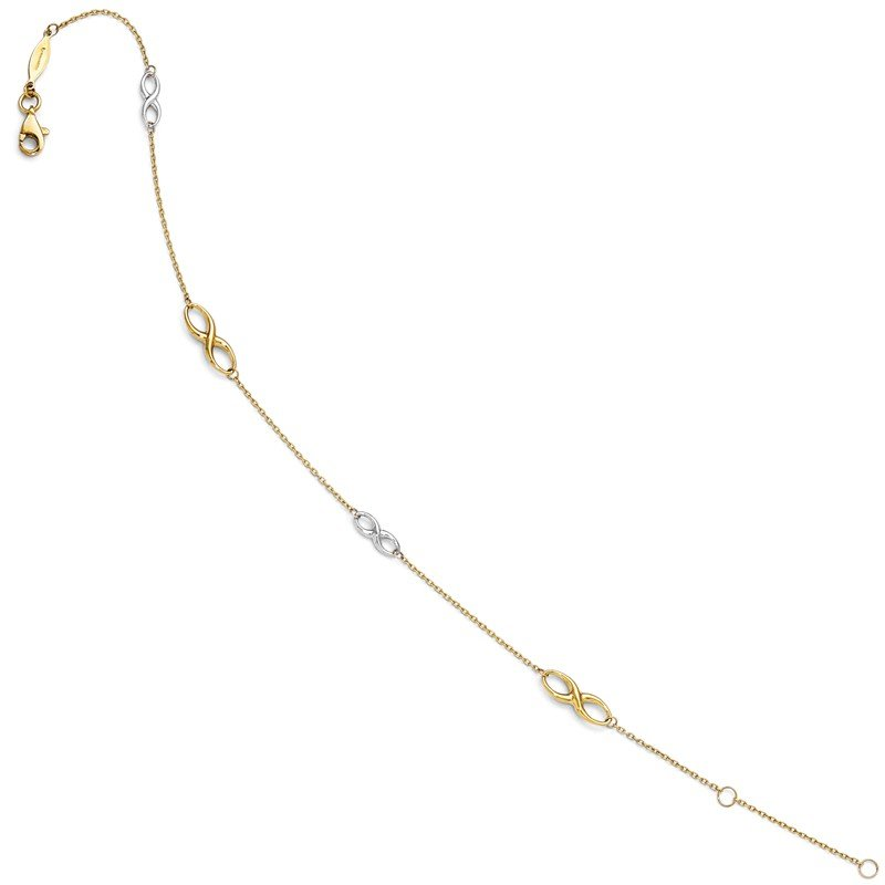 Leslie's Leslie's 14K Two-tone Polished Anklet w/1in ext.
