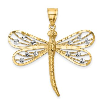 14K Diamond-cut White Rhodium Dragonfly Pendant