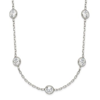 Sterling Silver Clear 4mm 9-Station CZ Necklace