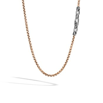 Classic Chain 4MM Box Chain Necklace in Bronze and Silver