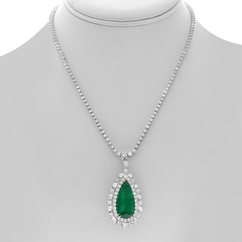 Pear-shaped Emerald & Diamond Drop Necklace