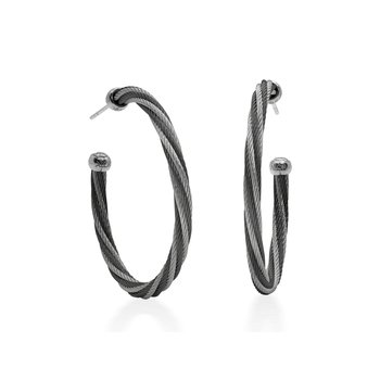 Black & Grey Twisted Cable 1.5″ Hoop Earrings with 18kt White Gold