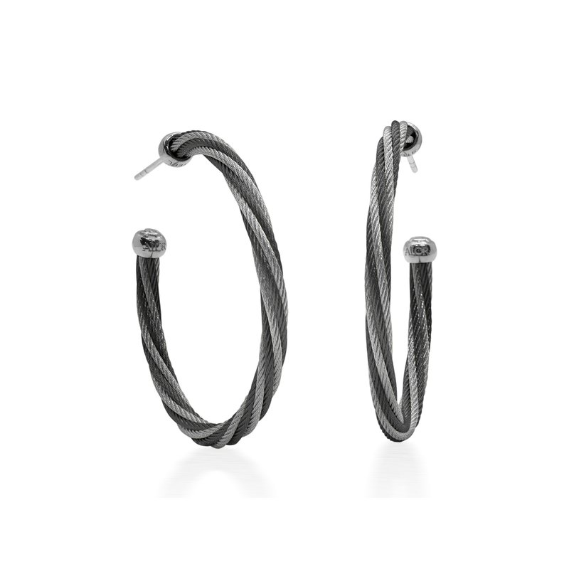 ALOR Black & Grey Twisted Cable 1.5″ Hoop Earrings with 18kt White Gold