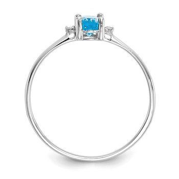 14k White Gold Diamond & Blue Topaz Birthstone Ring