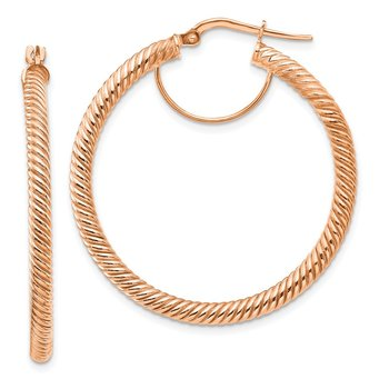 14k 3x30mm Rose Gold Twisted Round Hoop Earrings