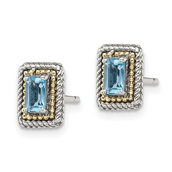 Sterling Silver w/ 14K Accent Light Swiss Blue Topaz Post Earrings
