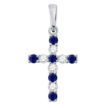 10kt White Gold Womens Round Lab-Created Blue Sapphire Cross Faith Pendant 1/3 Cttw