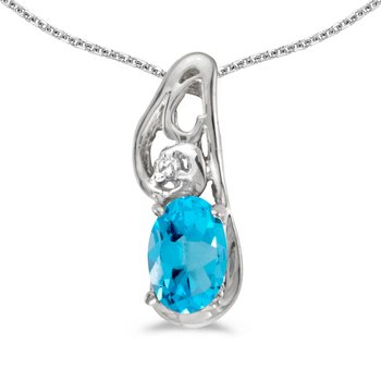 14k White Gold Oval Blue Topaz And Diamond Pendant