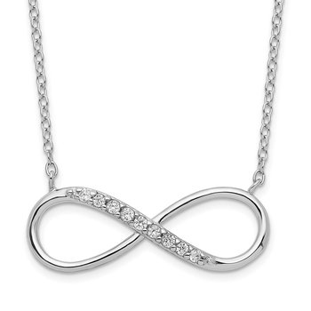 Sterling Silver Rhodium-plated with CZ Infinity w/ 2 IN EXT Necklace