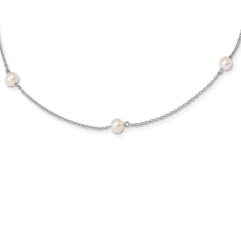Quality Gold Sterling Silver RH-plated Childs 5-5.5mm FWC Pearl 5-Station Necklace