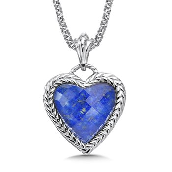 Sterling silver and lapis fusion heart pendant