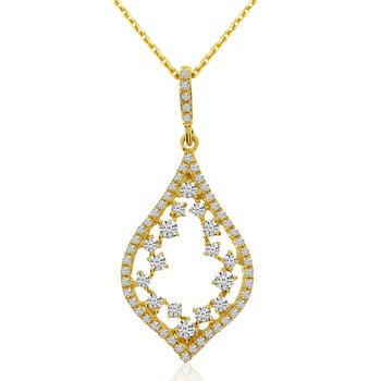 14k Yellow Gold Teardrop Diamond Fashion Pendant