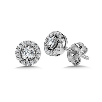 Diamond Star Round Halo Stud Earrings