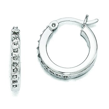 Sterling Silver Diamond Mystique Round Hoop Earrings