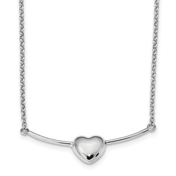 Sterling Silver Rhodium-plated Polished Puffed Heart on Bar Necklace