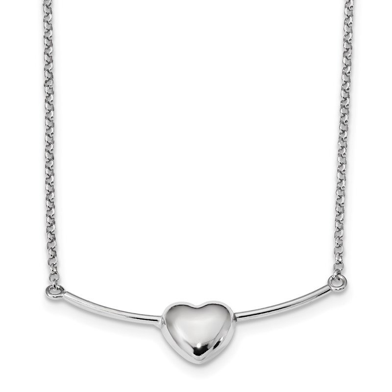 Quality Gold Sterling Silver Rhodium-plated Polished Puffed Heart on Bar Necklace
