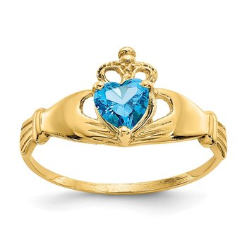 14k CZ December Birthstone Claddagh Heart Ring