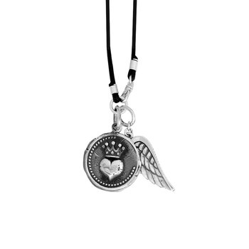 Large Heart Coin And Wing On Leather Neck