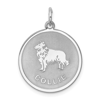 Sterling Silver Rhodium-plated Collie Disc Charm