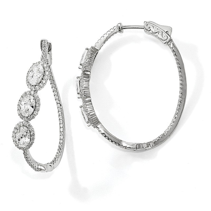 Quality Gold Sterling Silver Polished Curvy Oval Halo CZ In and Out Oval Hoop Earrings