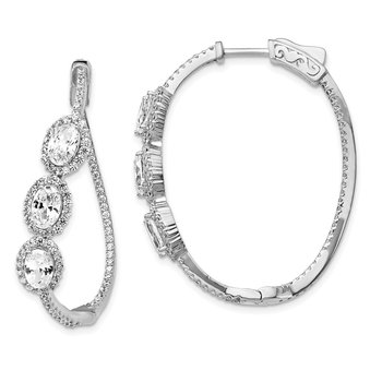 Sterling Silver Polished Curvy Oval Halo CZ In and Out Oval Hoop Earrings