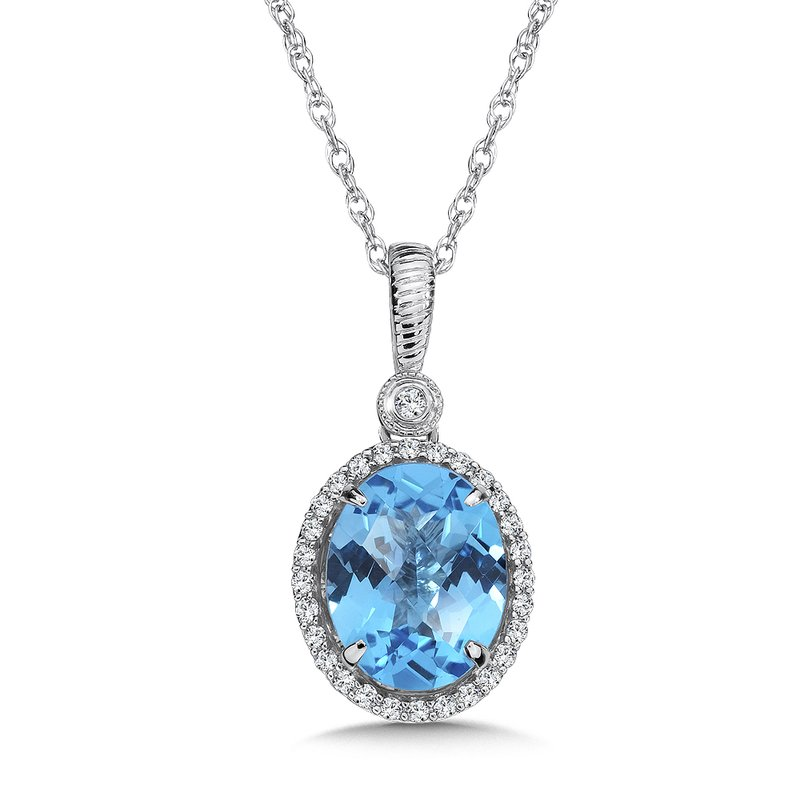 Colore Oro Blue Topaz and Diamond Pendant in 14K White Gold