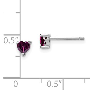 Sterling Silver 4mm Heart Rhodolite Garnet Post Earrings
