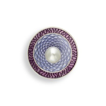 Purple Round Brooch-Pendant.Sterling Silver-Freshwater Pearls