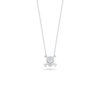 Skull And Crossbones Pendant With Diamonds &Ndash; 18K White Gold