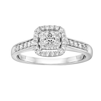 BLISS2: 14KW Double Cushion Halo Engagement Ring