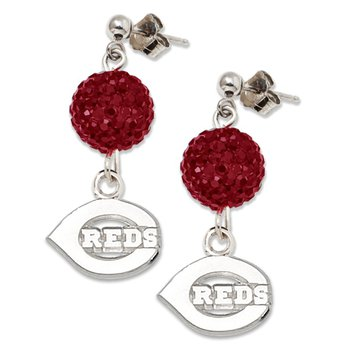 Sterling Silver Cincinnati Reds MLB Earrings