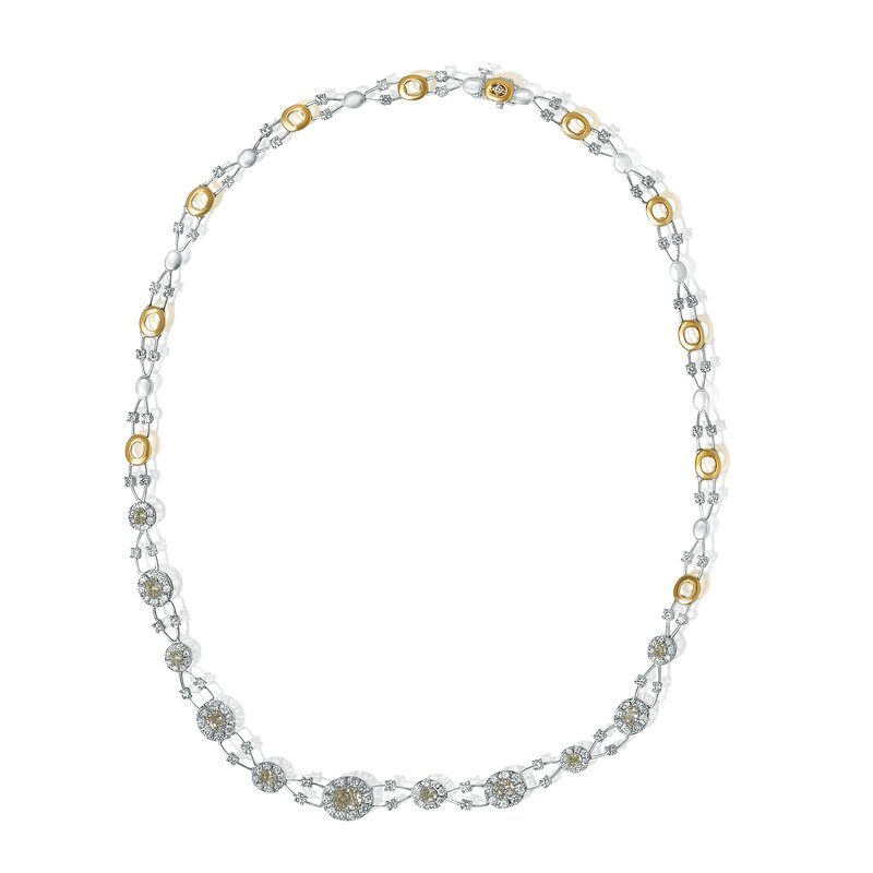 Roman & Jules Oval Floating Yellow Diamond Necklace