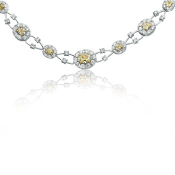 Oval Floating Yellow Diamond Necklace