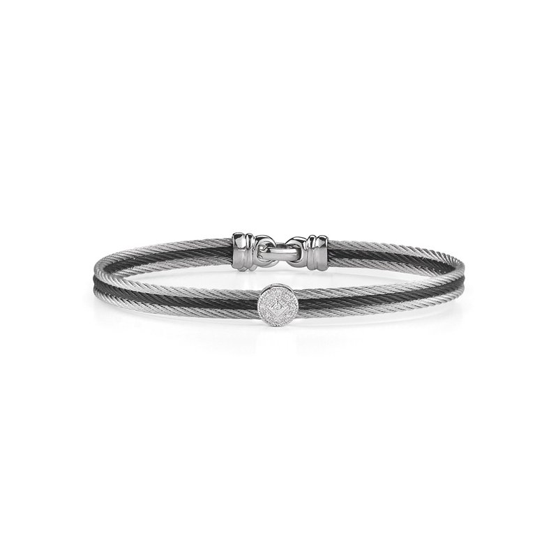 ALOR Black & Grey Cable Classic Stackable Bracelet with Single Round Station set in 18kt White Gold