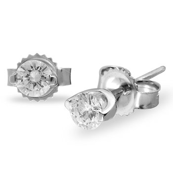 14K WG Diamond 'I Love You' Solitaire Earring