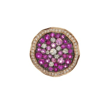 14k Rose Gold Round Mutli  Pink Sapphire and Diamond Pendant